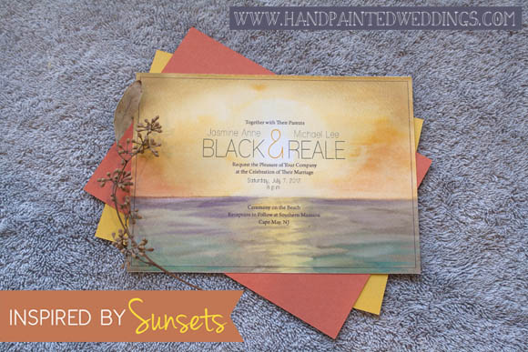 Sunset Invitation by Hand-Painted Weddings