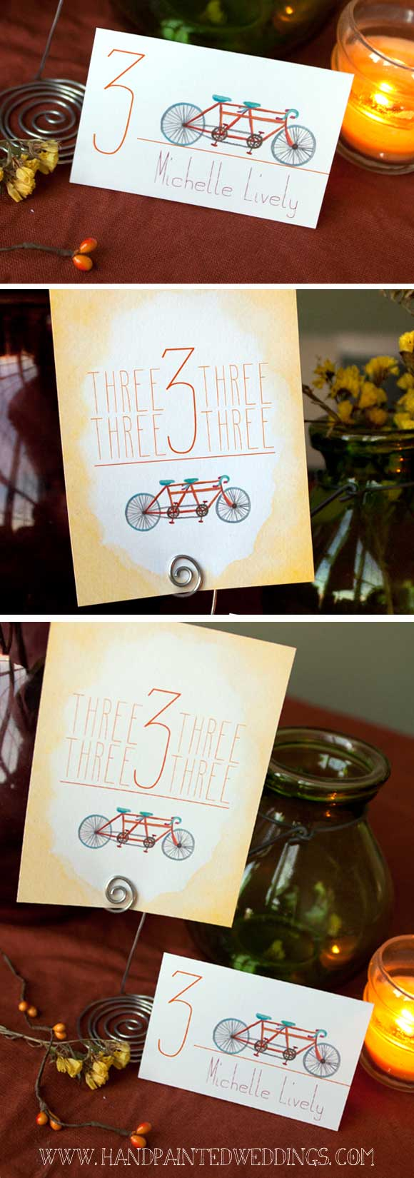 Hand-Painted Reception: Tandem Bike theme