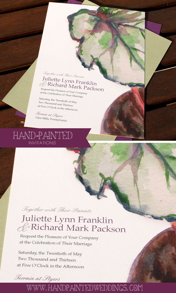 Begonia invitation by Hand-Painted Weddings