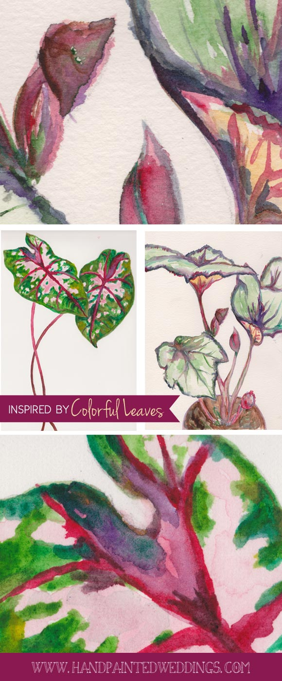 Hand-Painted Invitation: Caladium Plant