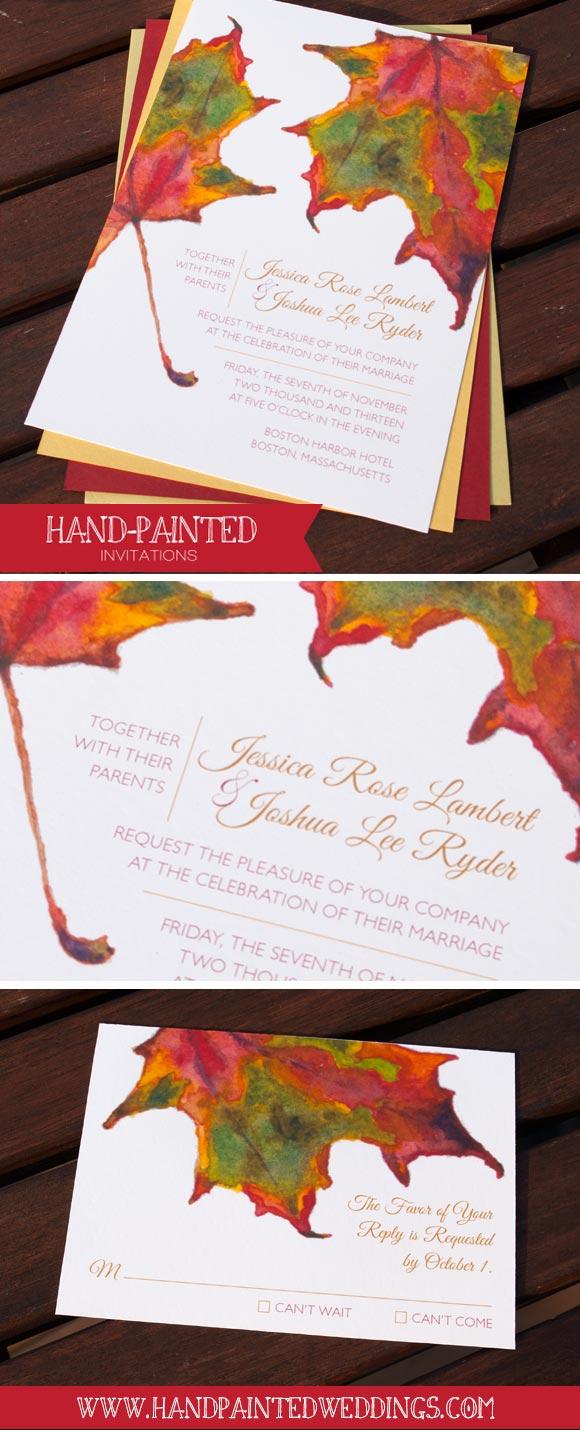 Hand-Painted Invitation: Autumn Leaves - Hand-Painted Weddings