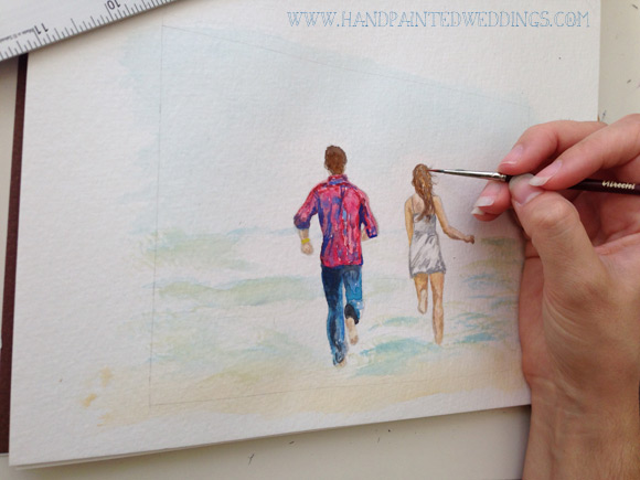 Engagement Painting by Hand-Painted Weddings