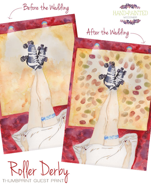 Roller Derby Thumbprint Guest Print by Hand-Painted Weddings