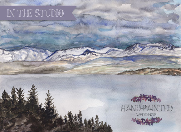 New Zealand Snowy Mountains Watercolor by Hand-Painted Weddings