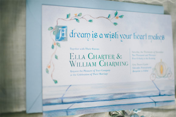 Cinderella Wedding Invitation HandPainted Weddings