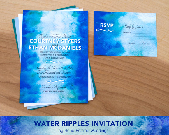 Water Ripples Invitation by Hand-Painted Weddings