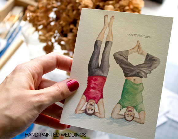 Holiday card by Hand-Painted Weddings