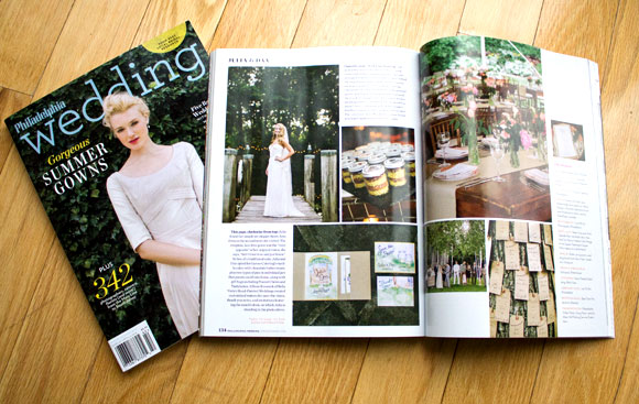 Hand-Painted Weddings in Philadelphia Wedding Magazine Dec. 2013 issue