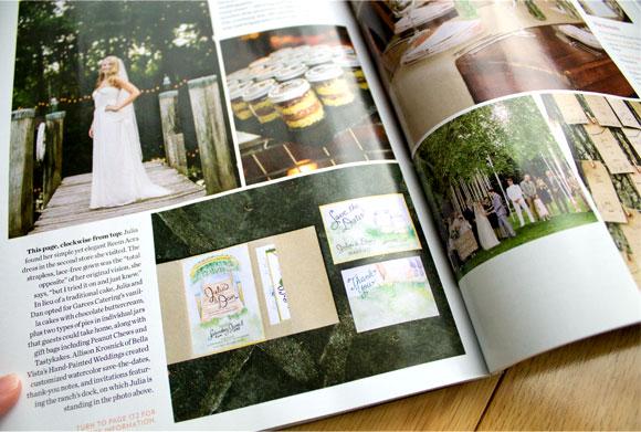 Hand-Painted Weddings in Philadelphia Wedding Magazine Dec. 2013 issue