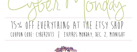 Cyber Monday – 15% Off Everything on the Hand-Painted Weddings Etsy Shop