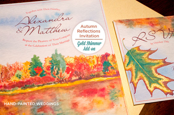 Autumn Reflections invitation with Shimmer Add-On by Hand-Painted Weddings