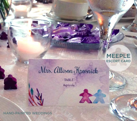 Meeple board gamers invitation by Hand-Painted Weddings