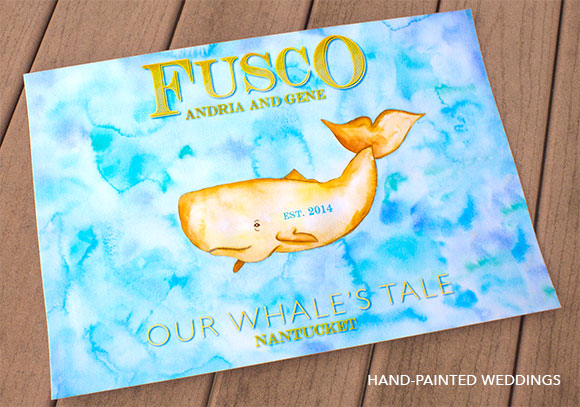 Whale's Tale Custom Thumbprint Guest print by Hand-Painted Weddings