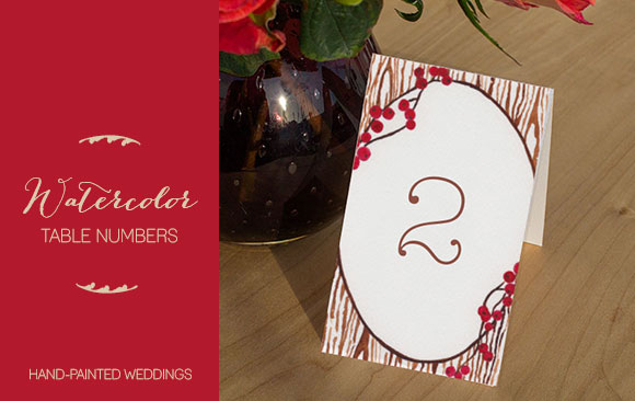 Watercolor Table Numbers by Hand-Painted Weddings