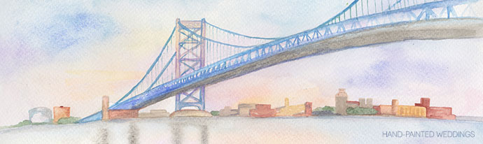 Ben Franklin Bridge Painting by Hand-Painted Weddings