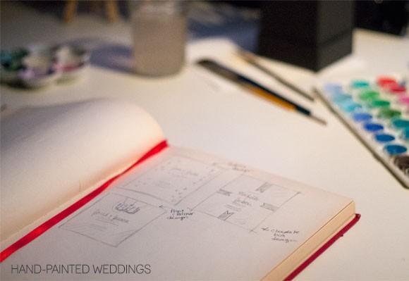 Hand-Painted Weddings Work in Progress Sketch