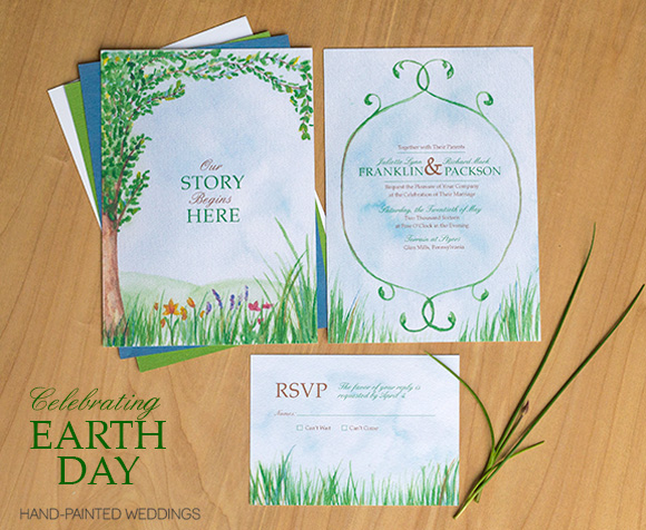 Painted Wedding Invitations: Earth Day Wedding Invitation