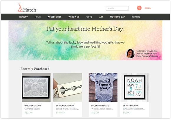 Hand-Painted Weddings art on Hatch Mother's Day campaign