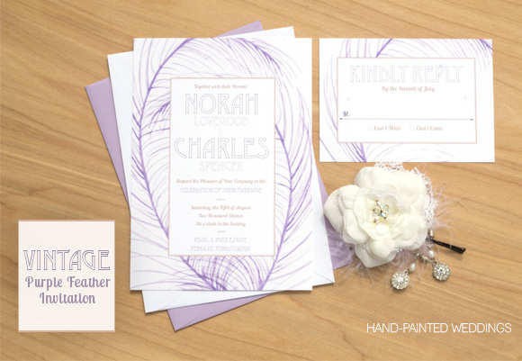 Vintage Purple Feather Invitation by Hand-Painted Weddings