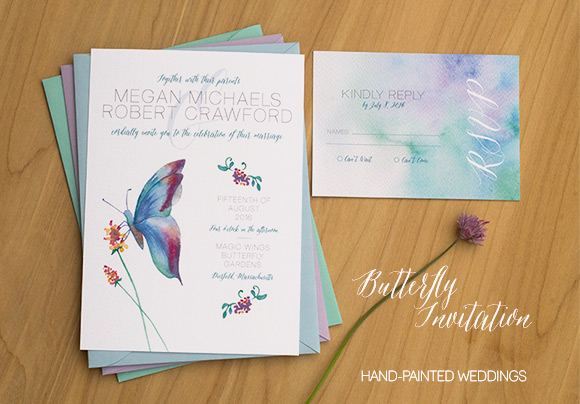 Painted Wedding Invitations: Butterfly Wedding Invitation