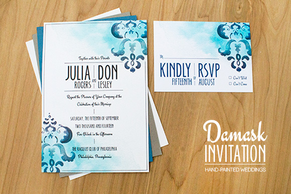 Damask invitation by Hand-Painted Weddings