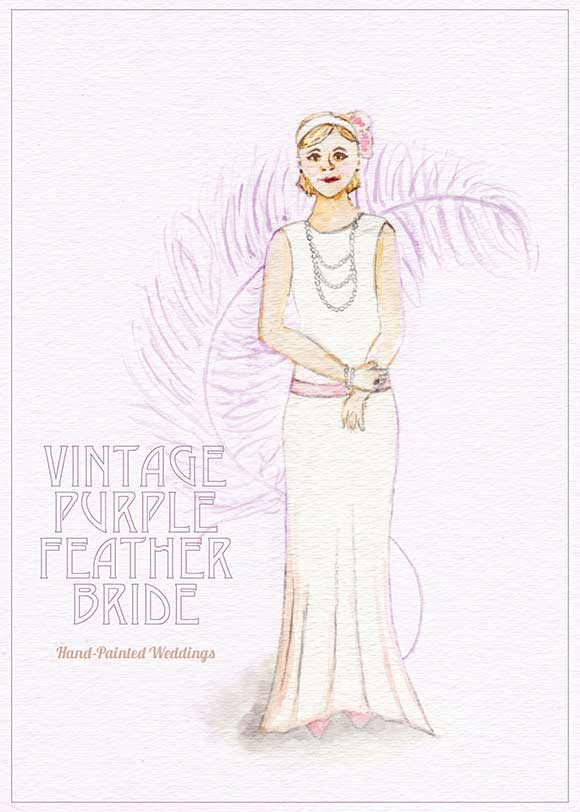 Vintage Purple Feather Bride Portrait
