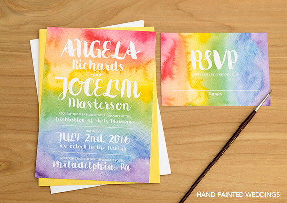 Pride Rainbow Invitation by Hand-Painted Weddings