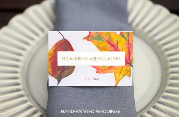 Autumn Escort cards by Hand-Painted Weddings