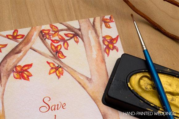 Custom Autumn Wedding Invitation by Hand-Painted Weddings