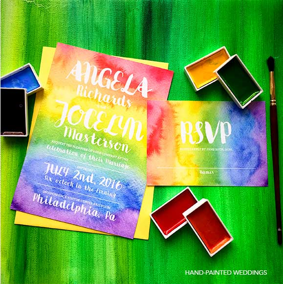 Gay Pride Rainbow Wedding invitation by Hand-Painted Weddings