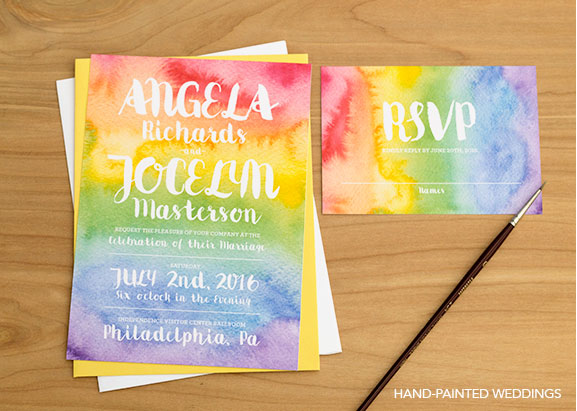 Gay Pride Wedding Inspiration curated by Hand-Painted Weddings. Pride Invitation by Hand-Painted Weddings