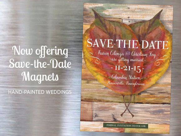 Watercolor Save the Date Magnets by Hand-Painted Weddings