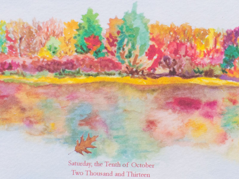 Hand-Painted Invitation: Autumn Reflections