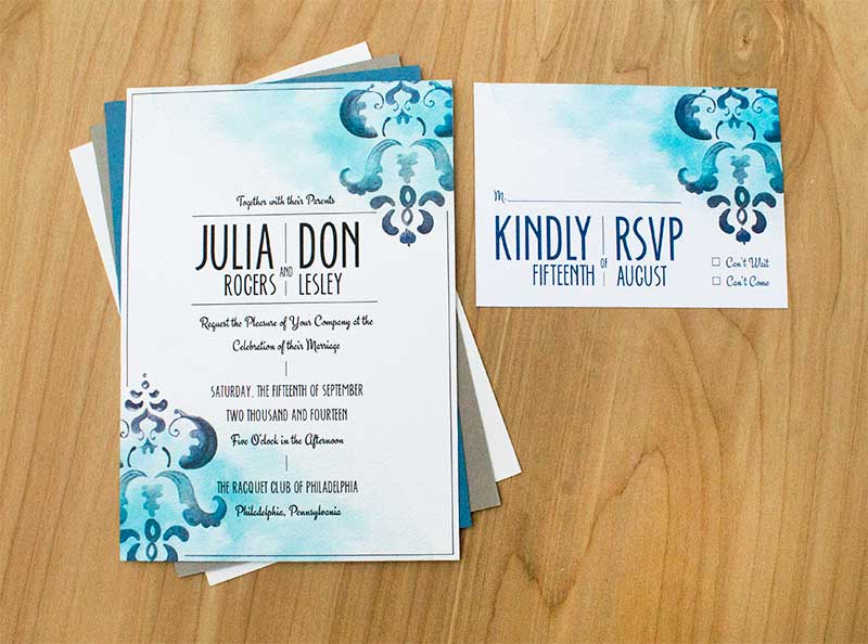 Damask Invitation – Patterns and Washes Collide