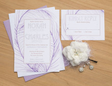 Purple Feathers Wedding Invitation by Hand-Painted Weddings