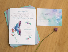 Butterfly Wedding Invitation Set by Hand-Painted Weddings