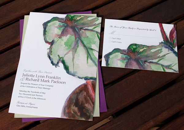 Hand-Painted Invitation: Begonia Plant