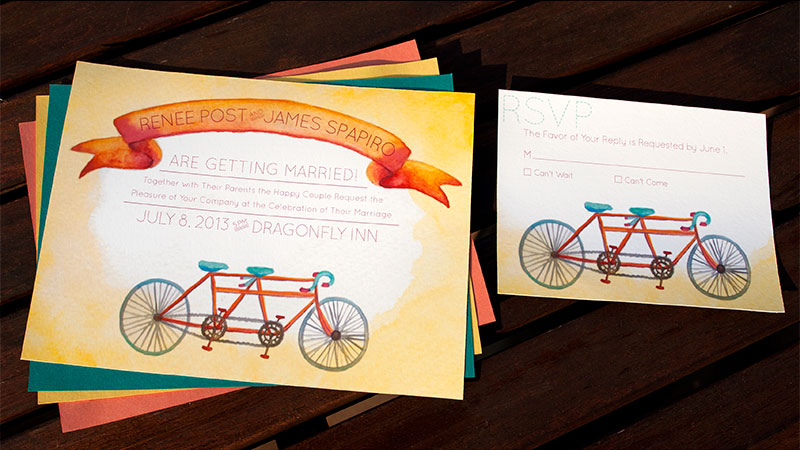 Hand-Painted Invitation: Tandem Bikes