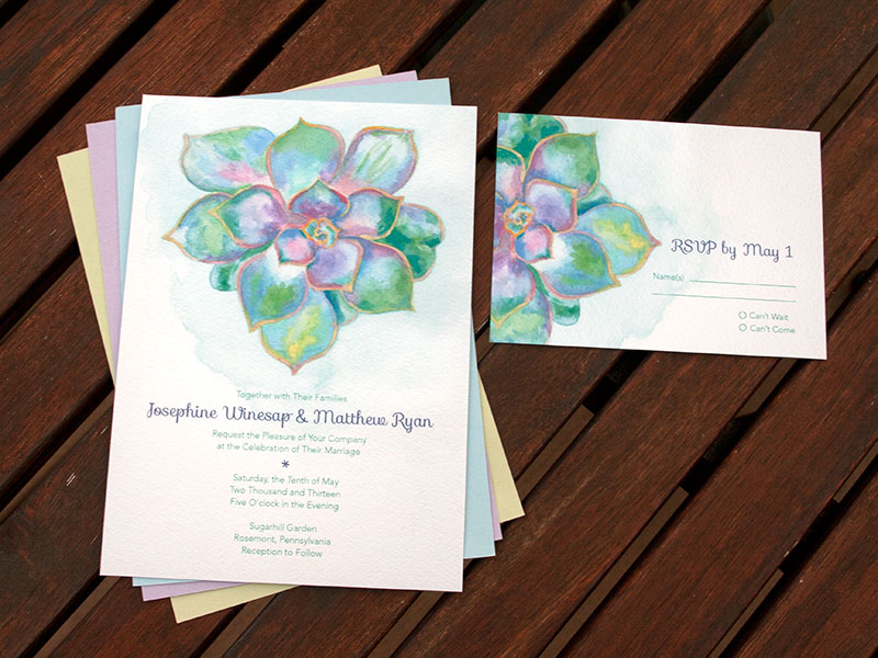 hand-painted weddings | watercolor wedding invitations succulent,