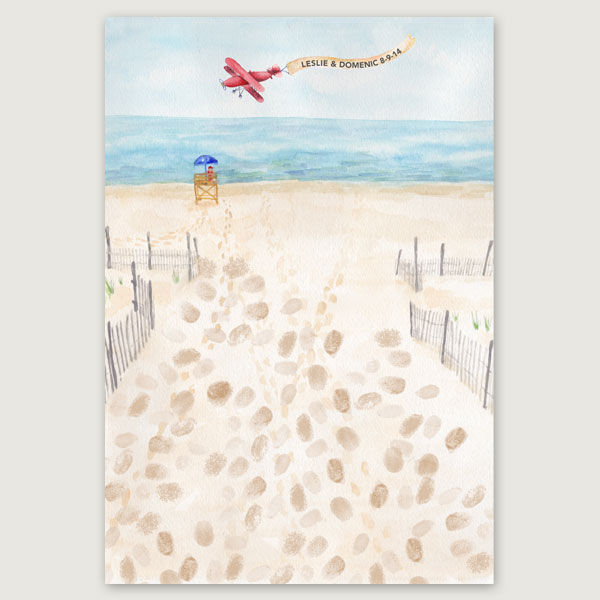 Beach Thumbprint Guestbook - Hand-Painted Weddings