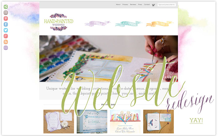 Hand-Painted Wedding Website Redesign announcement