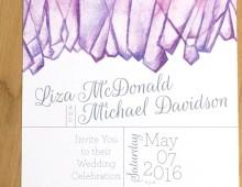 Amethyst Quartz invitation set by Hand-Painted Weddings
