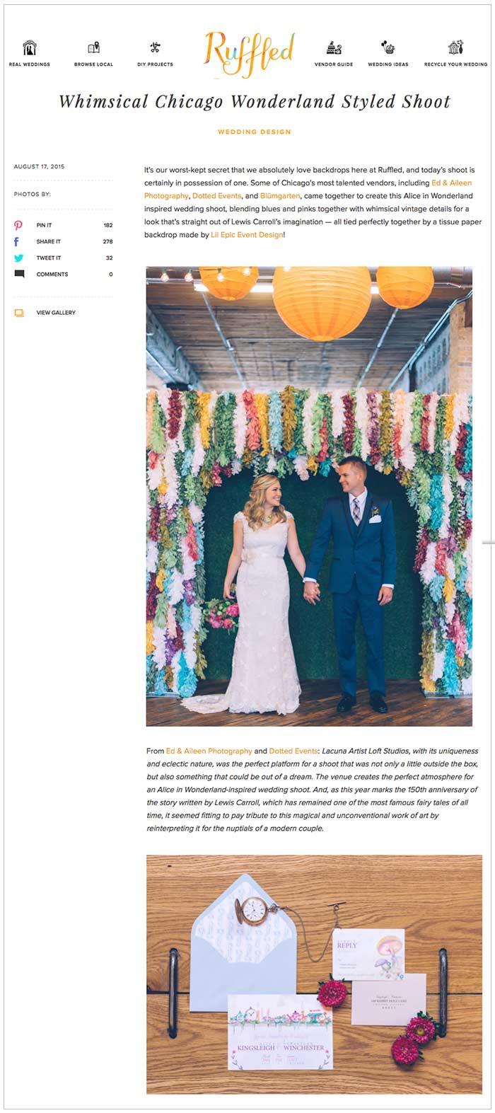 Alice in Wonderland Wedding on Ruffled Blog