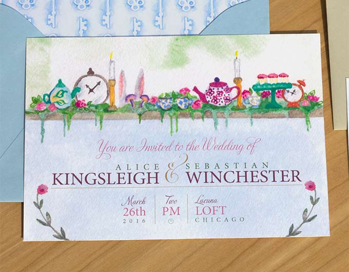 HandPainted Weddings Watercolor Wedding Invitations Alice in