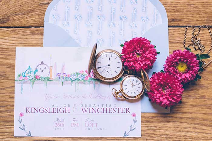 Alice in Wonderland Wedding Invitation HandPainted Weddings