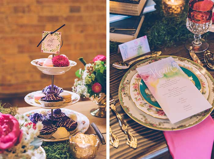 Alice in Wonderland Wedding. Paper by Hand-Painted Weddings. Photo by Ed & Aileen Photography