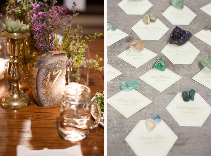 Amethyst Gemstone Wedding Reception Inspiration Hand Painted Weddings