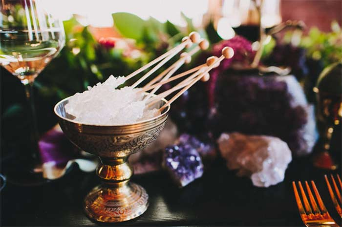 Amethyst Quartz Wedding inspiration for boho wedding curated by Hand-Painted Weddings
