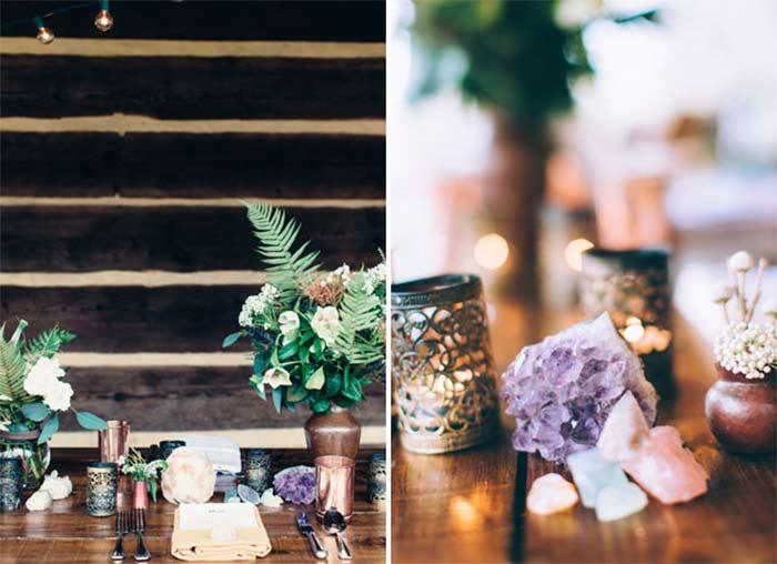 Amethyst Quartz Wedding inspiration for boho wedding curated by Hand-Painted Weddings