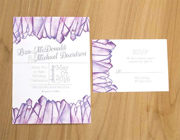 Amethyst Quartz Wedding invitation for boho wedding designed by Hand-Painted Weddings